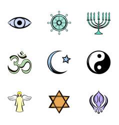 God icons set cartoon style vector