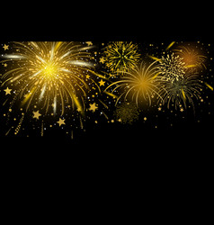 Gold fireworks on black background vector