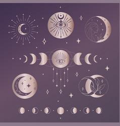 golden abstract mystic line design elements vector image