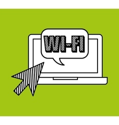 Hand draw laptop wifi social network media vector