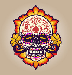 hand drawn dia de muertos skull with flowers vector image