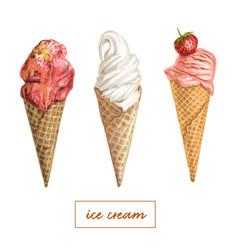 hand drawn ice cream set vector image