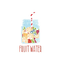 hand drawn logo with fruit water in mason jar vector image
