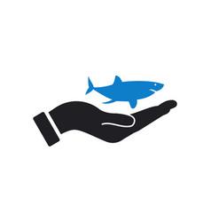Hand shark logo design dolphin logo with vector