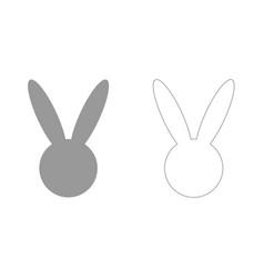 hare or rabbit head grey set icon vector image