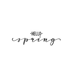Hello spring hand drawn calligraphy and brush pen vector