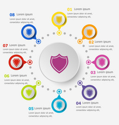 Infographic template with shield icons vector