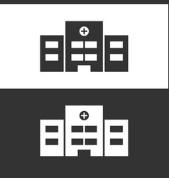 Isolated hospital icon on black and white vector