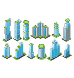 isometric futuristic skyscrapers icon set vector image