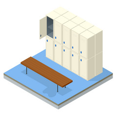 Isometric interior a locker and changing room vector
