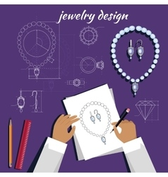 Jewerly sketch banner necklace and earrings vector