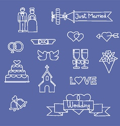 Just married hand drawn icons vector