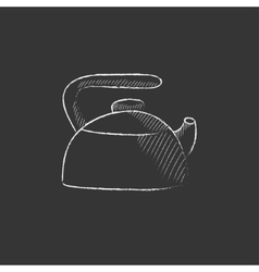 Kettle Drawn in chalk icon vector image