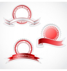 label with ribbon stickers vector image