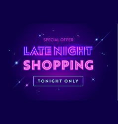 Late night sale advertising banner with typography vector