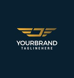 letter j wing logo design concept template vector image