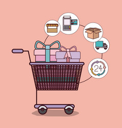 light pink background with shopping cart full of vector image