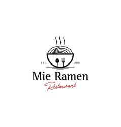 Logo mie ramen simple clean vintage design vector