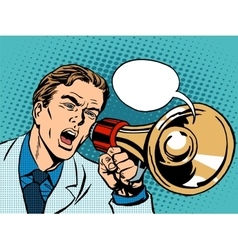 man megaphone policy promotion vector image