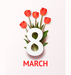 march 8 holiday realistic greeting card vector image