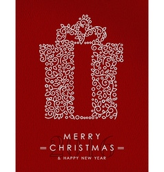 Merry christmas happy new year outline gift deco vector image
