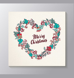 Merry christmas love shaped wreath greeting card vector