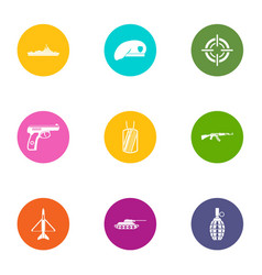 Military member icons set flat style vector