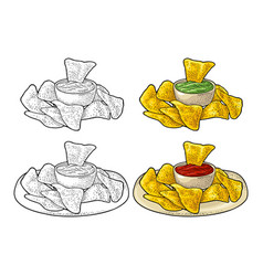 nachos - mexican traditional food vintage vector image
