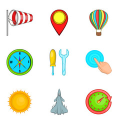 non-flying weather icons set cartoon style vector image