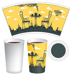 Paper cup template with street cafe and coffee cup vector