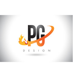 pg p g letter logo with fire flames design and vector image