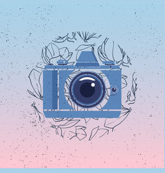 Photocamera icon with magnolia flowers vector