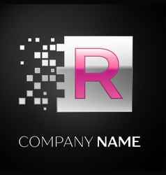 Pink letter r logo symbol in the silver square vector