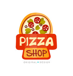 pizza shop logo design template label of pizza vector image