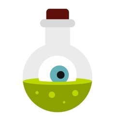 Potion in flask icon flat style vector image