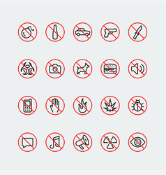 Prohibition signs and icons in thin line style vector