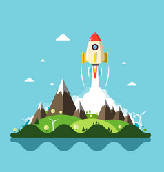 rocket launch with landscape on background vector image