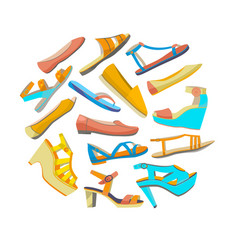 round isolated shoes composition vector image