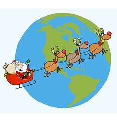 Santa riding sleigh cartoon vector image