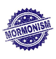 Scratched textured mormonism stamp seal vector