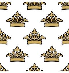Seamless pattern golden royal crowns vector