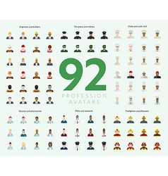 Set of 92 flat profession avatars Engineers and vector