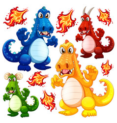 set of angry dragon vector image