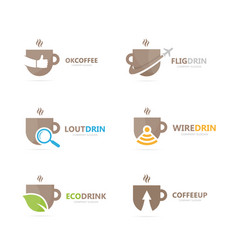 set of coffee logo combination drink and tea vector image