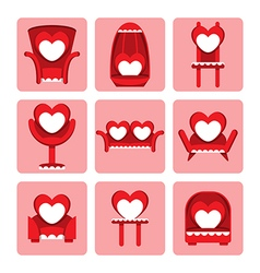 Set of cute chair for valentine day vector