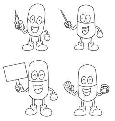 set of medicine capsule cartoon vector image