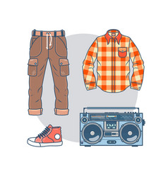set of trendy men s wear and accessories pack of vector image