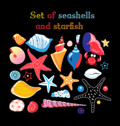 set sea shells and starfis vector image