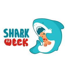 shark cartoon seafish cute eating fish vector image