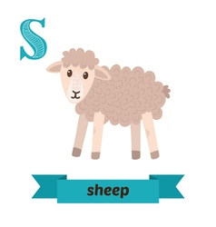 Sheep S letter Cute children animal alphabet in vector